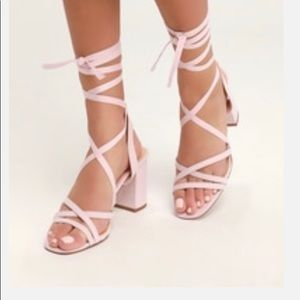 Gorgeous Blush lace up sandals! Price negotiable.